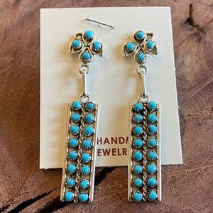 Zuni Petit Point Turquoise Sterling Silver Dangles